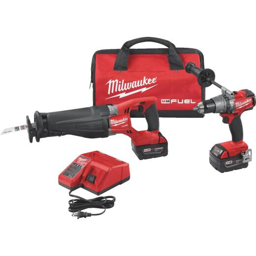 Milwaukee 2-Tool M18 FUEL Lithium-Ion Brushless Hammer Drill & Reciprocating Saw Cordless Tool Combo Kit