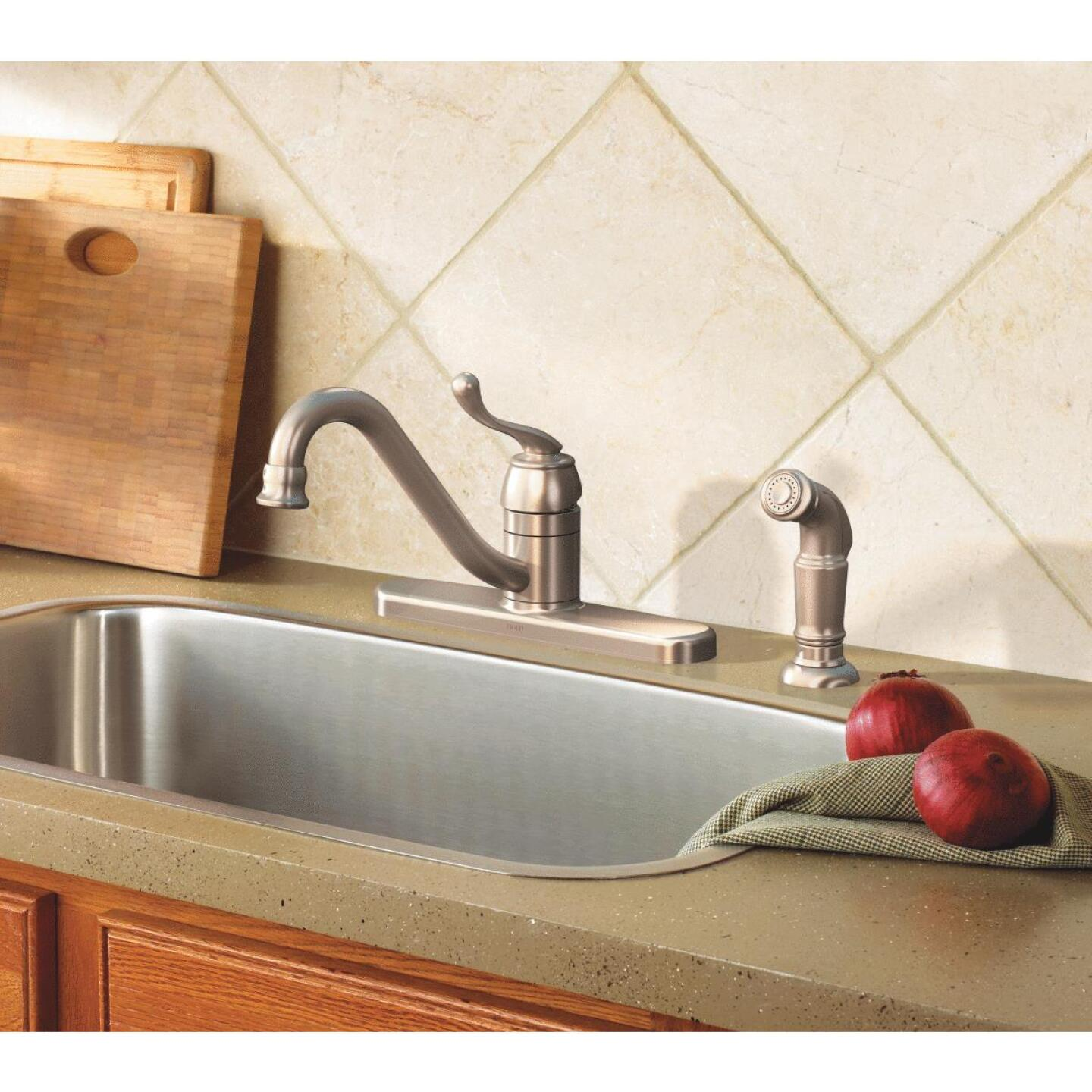Moen Muirfield Single Handle Lever Kitchen Faucet with Side ...