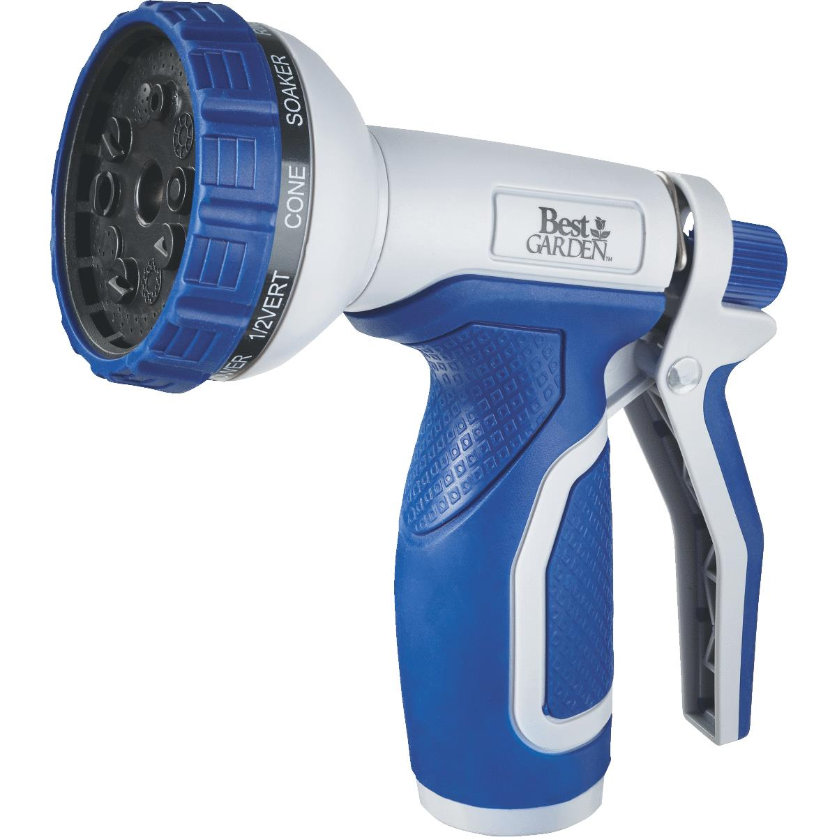 Best Garden Plastic 10-Pattern Nozzle, Blue & Gray
